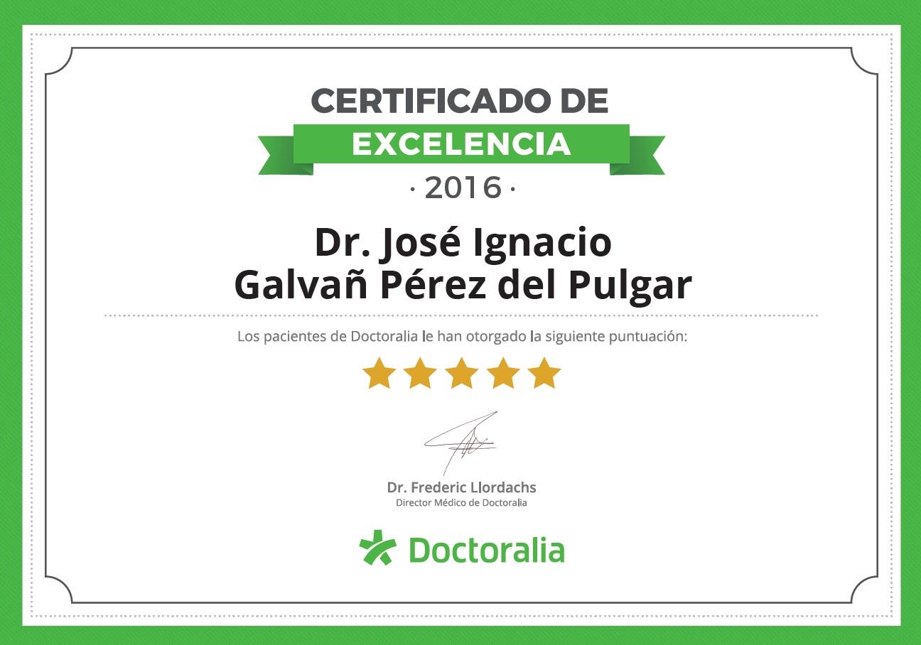 Certificado excelencia doctor jose ignacio galvañ